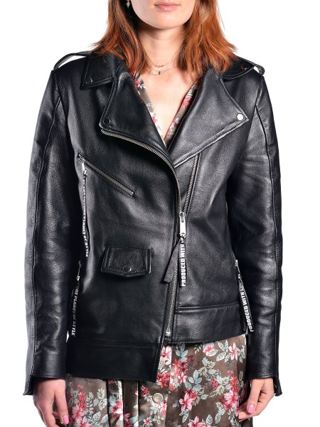 Asymmetric Black Leather Jacket
