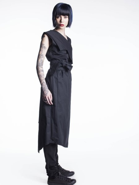 Asymmetric Cotton Dress With Waist Band