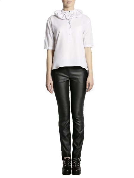 Asymmetric White Shirt with Back Panels