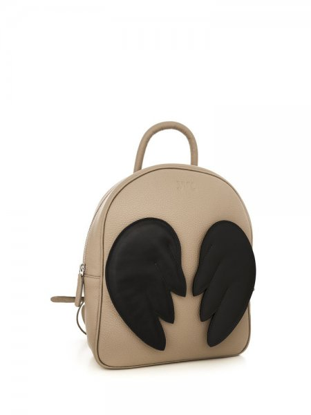 Beige Ami Backpack with Black Wings