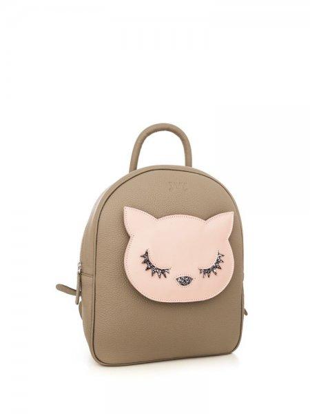 Beige Ami Pink Kitty Backpack
