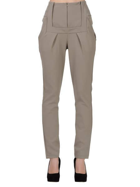 Beige High Waist Trousers