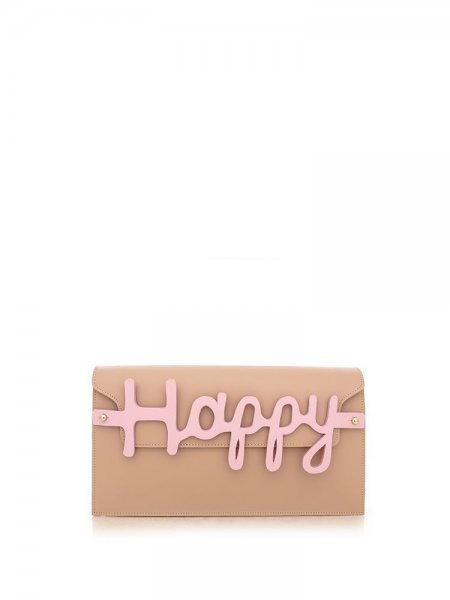 Beige Nappa Clutch with Letters Detail