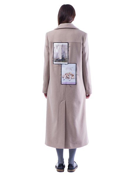Beige Wool Coat With Denim Panels