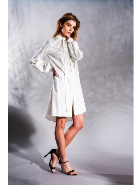 Bell Sleeved White Cotton Dress