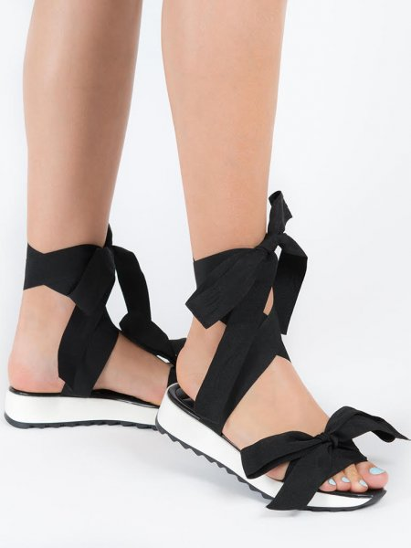 Black & White Ribbon Sandals