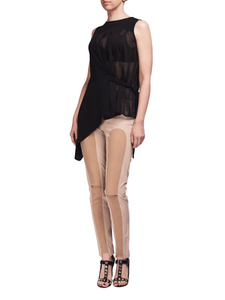 Black Asymmetric Top With Waist Ribbon
