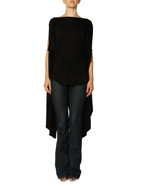 Black Asymmetrical Blouse with Front Braids