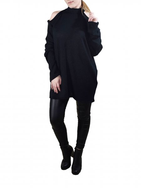 Black Blouse with Shoulder Cuts