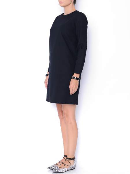 Black cotton and soft wool blend dress