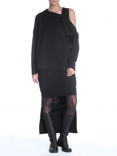 Black Cotton Blouse with Zipper