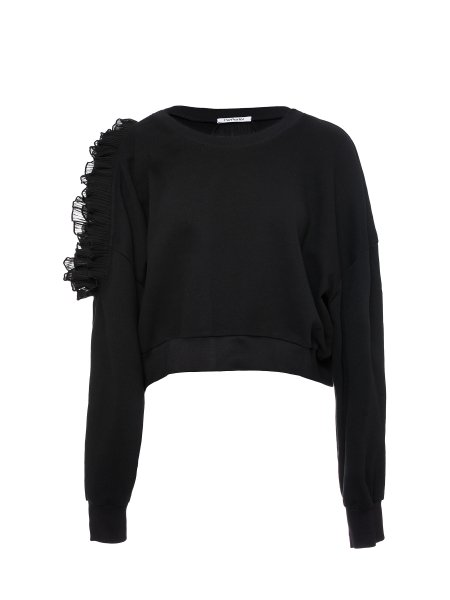 Black Cotton-Jersey Oversized Blouse