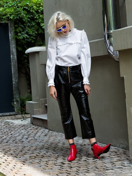 Black Cropped Vinyl Trousers