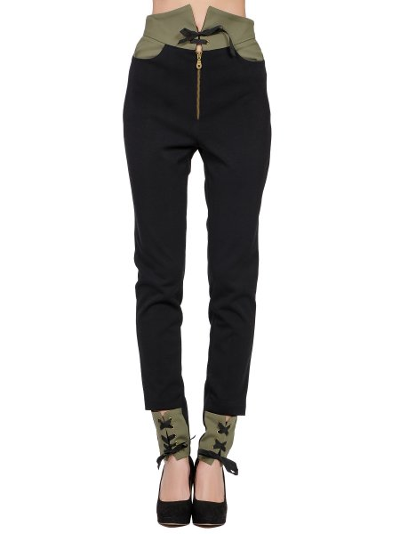 Black High-Waisted Slim Fit Trousers
