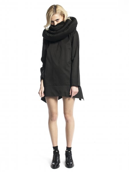 Black Jacket with Oversized Collar
