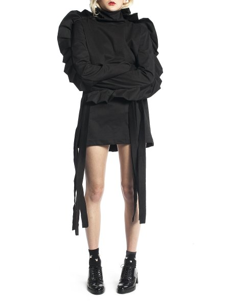 Black Jacket with Oversized Sleeves