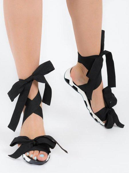 Black Lace-Up Sandals