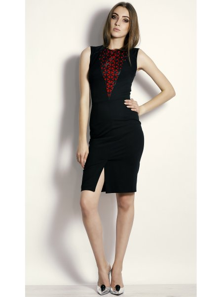 Black Laser Cut Midi Dress