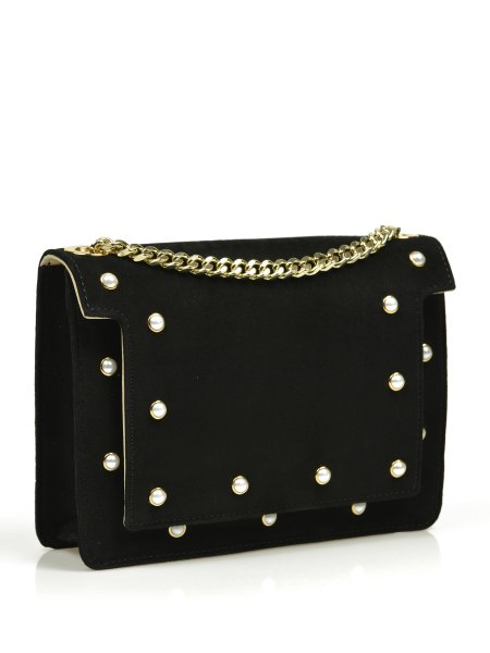 Black Pearl-Embellished  Bag