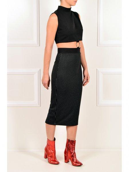 Black Pinstriped Midi Dress