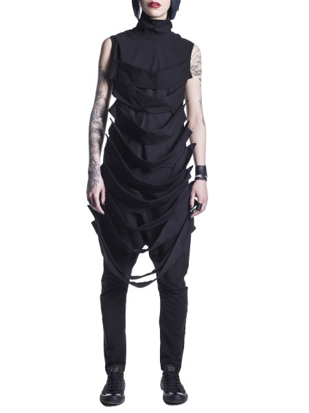 Black Sleeveless Top With Bands