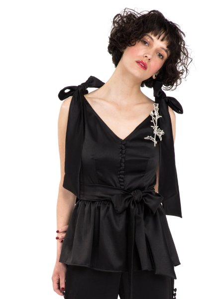 Black Taffeta Top