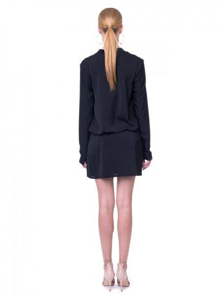 Black V-Neck Shirt Dress