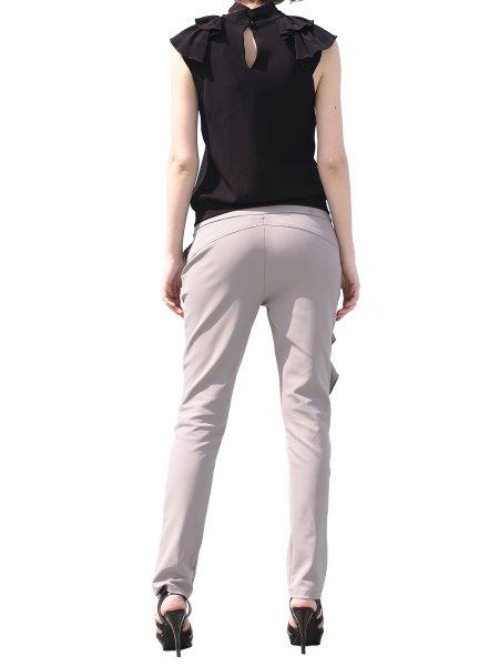 Black V-Neck Top With Shoulder Panels