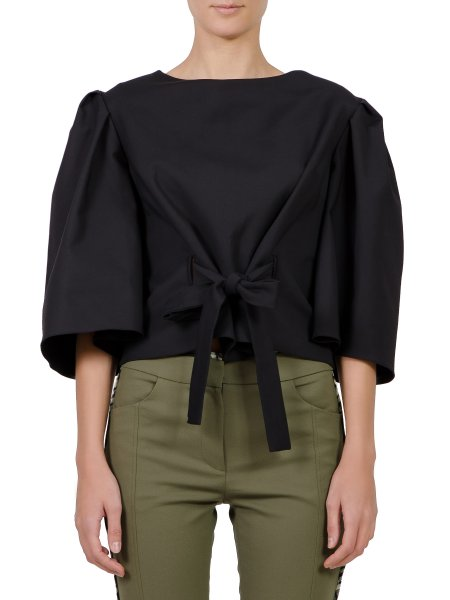 Black Viscose Blouse With Belt