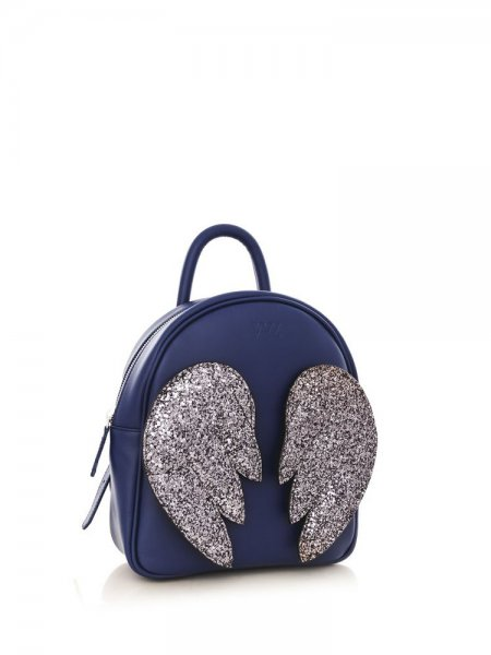 Blue Ami Backpack with Silver Wings