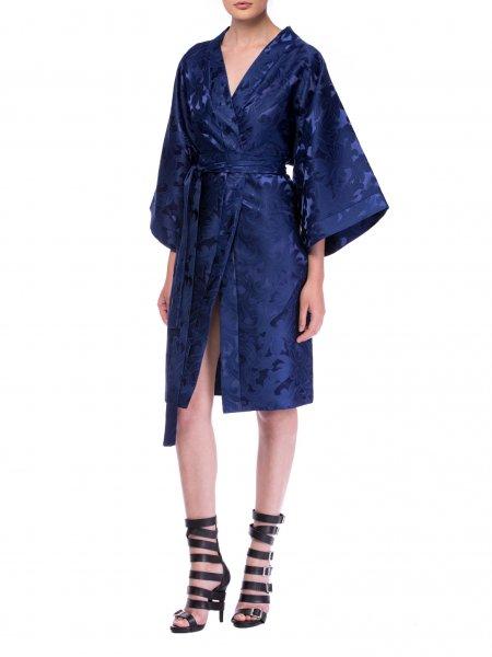 Blue Brocart Kimono Dress