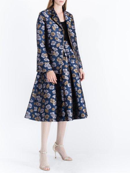 Blue Jacquard Kimono with Floral Pattern