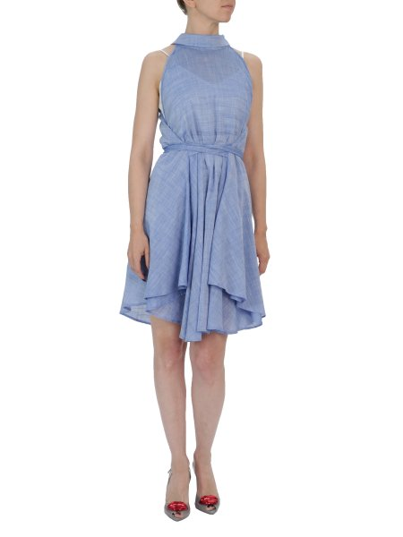 Blue Midi Dress With Waistband
