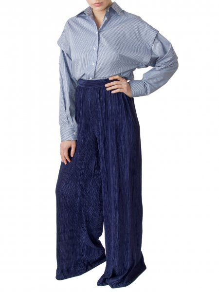 Blue Pleated Palazzo Pants