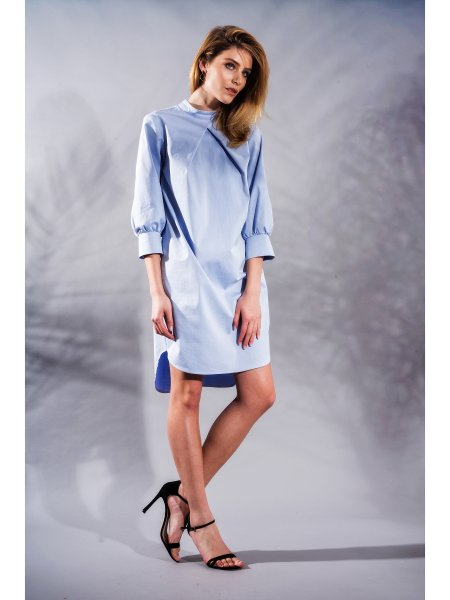 Blue Textured Shirt Dress