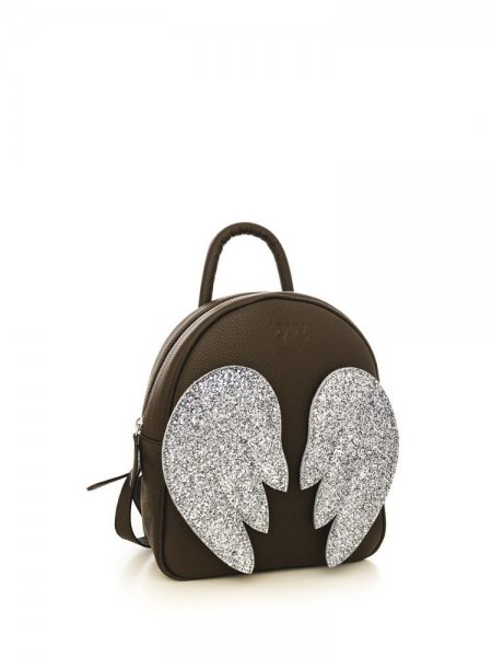 Brown Ami Backpack with Silver Wings