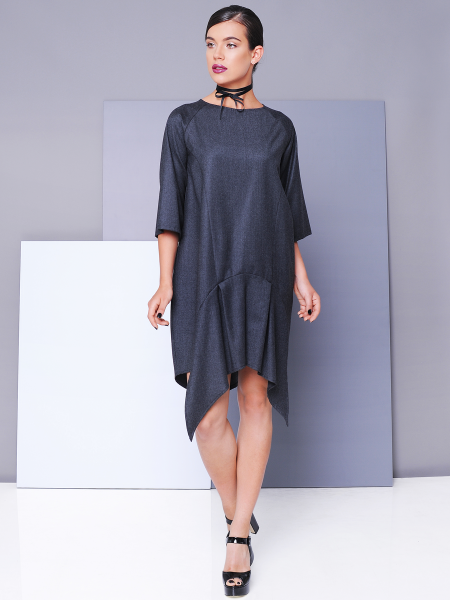 Cashmere and soft wool asymmetrical dress