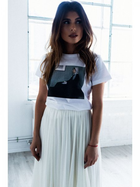 Cotton Printed White T-shirt