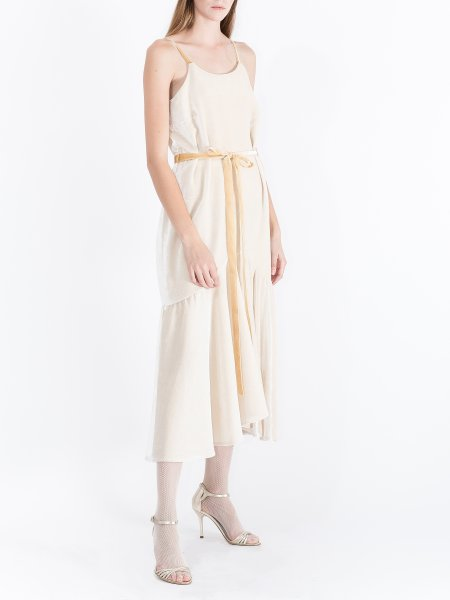 Cream Gold Velvet Strap Dress