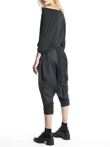Dark Grey Pants with Dropped Crotch