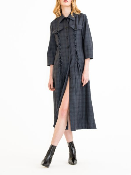Dark Grey Plaid  Wool Dress with Front Details