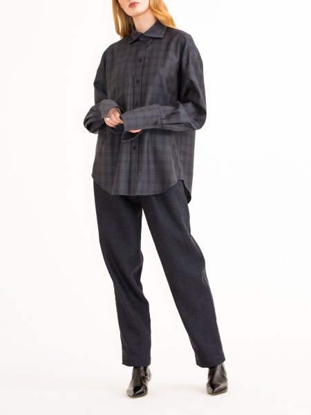 Dark Grey Plaid Wool Shirt