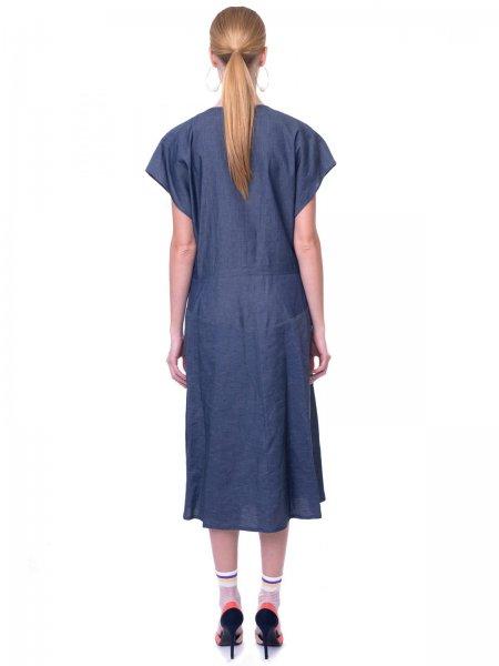Denim Wrap Front Midi Dress