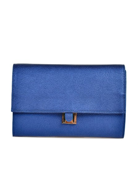 Electric Blue Leather Clutch