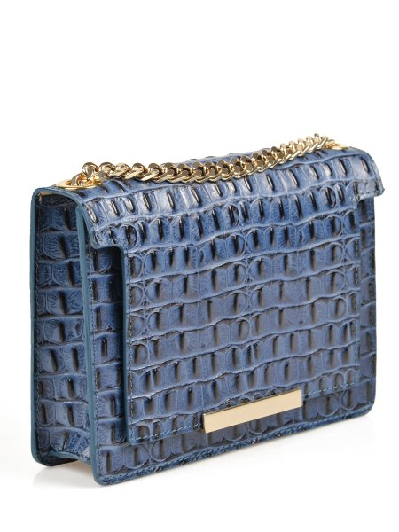 Glossed Crocodile Blue Shoulder Bag