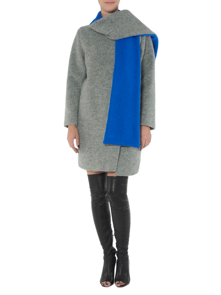 Gray Wool Coat With Electric Blue Details