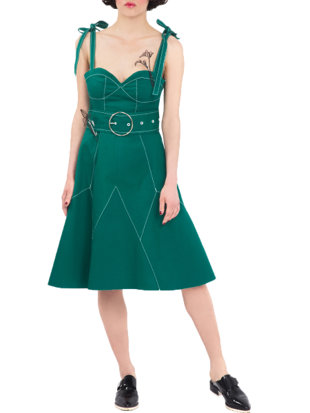 Green Cotton Duck Dress
