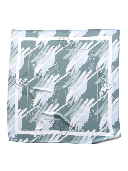Green Printed Silk Scarf
