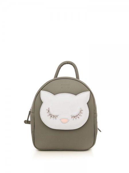 Grey Ami White Kitty Backpack