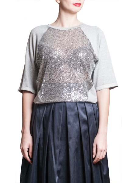Grey Sequined Top